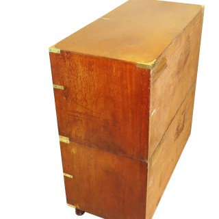 Mid 19th Century Mahogany & Camphor Wood Military Campaign Chest Of Drawers