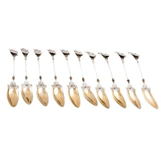 Set of 10 Continental White Metal Spoons