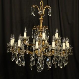 Italian 18 Light Gilded Bronze Antique Chandelier