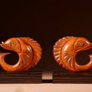 A pair of Very Stylish Art Deco Madagascar ebony (coromandel) and Hardwood Bookends