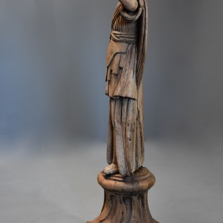 18thc highly decorative life size Continental carved oak figure