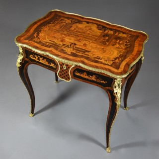 Mid 19th century French fine quality Kingwood inlaid centre table