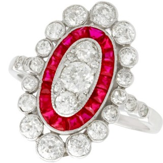 1.60ct Diamond and 0.60ct Ruby, Platinum Cluster Ring - Antique Circa 1910