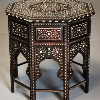 Superb quality late 19th century ivory inlaid hardwood Anglo Indian octagonal table