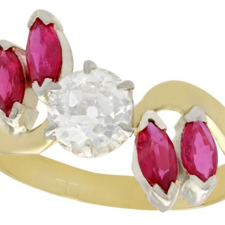1.05 ct Diamond and 0.87 ct Ruby, 18 ct Yellow Gold Dress Ring - Antique & Vintage 1979