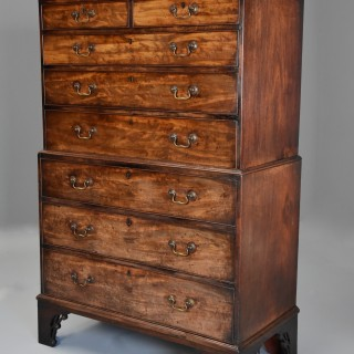 Late 18thc mahogany fine provincial chest on chest with unusual features of exceptional patina