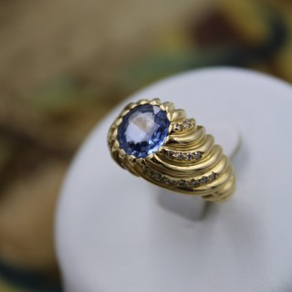 A very fine 18 Carat Yellow Gold (marked) French  Natural Sapphire and Diamond ring, Circa 1960