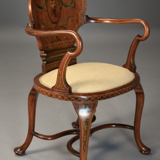 Highly decorative Edwardian satinwood & painted armchair in the Georgian style