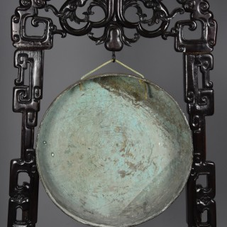 Large fine quality highly decorative late 19thc Chinese hardwood dinner gong with striker