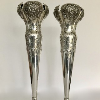 Very Tall Art Nouveau Silver  Vases