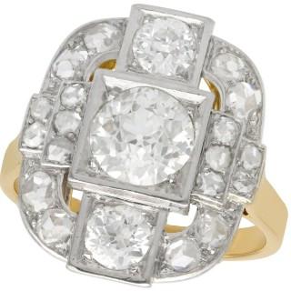 2.65ct Diamond and 18ct Yellow Gold, Platinum Set Dress Ring - Antique French Circa 1925