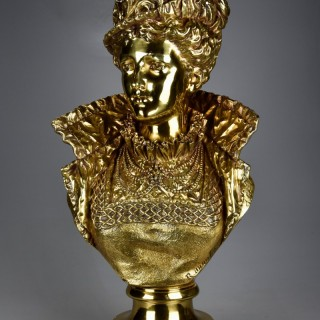 Late 19thc French gilt bronze bust figure of a Victorian lady by Ernest Rancoulet (1870-1915)