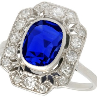2.82ct Sapphire and 0.59ct Sapphire, 18ct White Gold Cluster Ring - Antique French Circa 1920