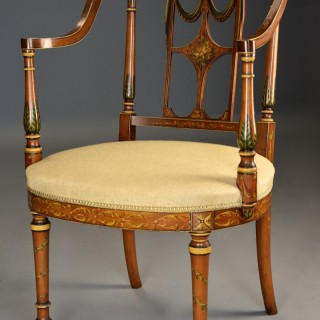 Fine quality early 20th century Sheraton revival satinwood & painted open armchair