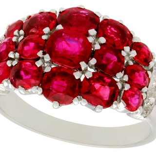 3.95ct Ruby and 0.20ct Diamond, Platinum Dress Ring - Vintage Circa 1950