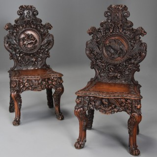 Superb pair of mid 19thc Exhibition quality carved oak chairs of large proportion