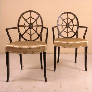 Pair of Late 19th Century Painted Armchairs