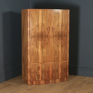 Antique English Art Deco Figured Walnut Two Door Bow Front Compactum Wardrobe Chest of Drawers (Circa 1930)