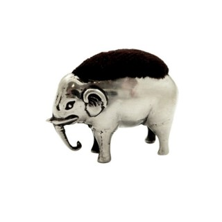 Antique Edwardian Sterling Silver Elephant Pin Cushion 1905
