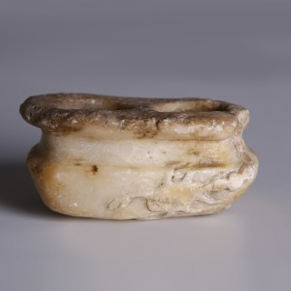Neo-Assyrian Alabaster Multi-Compartmented Cosmetic Container with Scorpion