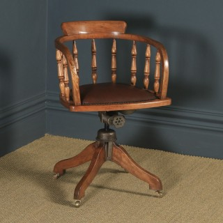 Antique English Edwardian Solid Ash & Brown Leather Revolving Office Desk Arm Chair (Circa 1910)
