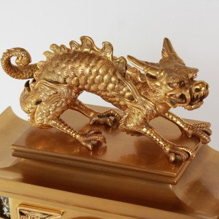 Aesthetic Movement Chinese Style Gilt and Silvered Bronze Clock