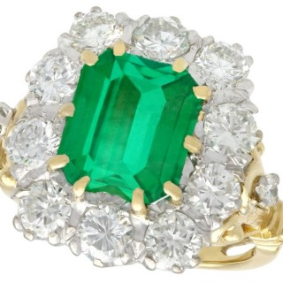 3.60 ct Emerald and 1.85 ct Diamond, 18 ct Yellow Gold Cluster Ring - Vintage Circa 1950