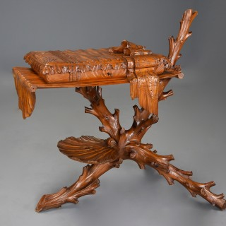 Superb rare late 19th century Italian finely carved pine Grotto work table