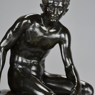 Large late 19thc Grand Tour Italian bronze of 'Seated Hermes', after the Antique