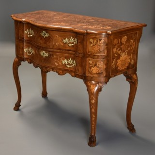 Fine quality mid 19th century floral marquetry walnut lowboy of serpentine form
