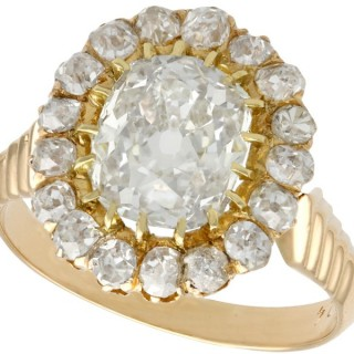 3.52 ct Diamond and 18 ct Yellow Gold Cluster Ring - Antique Circa 1900