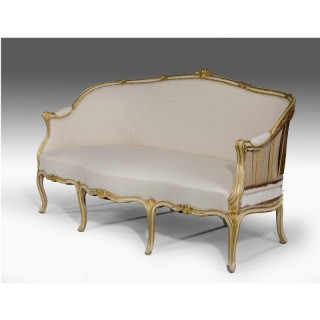 George III Period Parcel Gilt Sofa with a Triple Serpentine Front