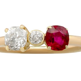 0.64ct Diamond and 0.45ct Ruby, 15ct Yellow Gold Dress Ring - Vintage Circa 1950