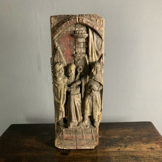 Pine Carving Depicting Knights Templar