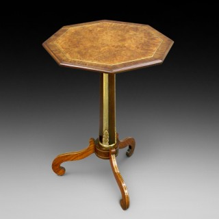 A rare Regency amboina, rosewood & brass inlaid tripod table
