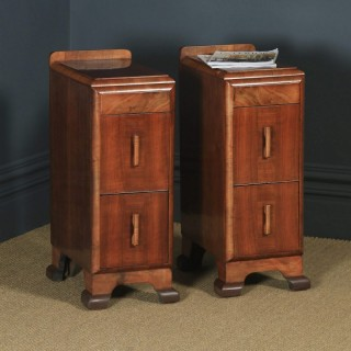 Antique English Pair of Art Deco Figured Walnut Bedside Chests / Cabinets (Circa 1930)