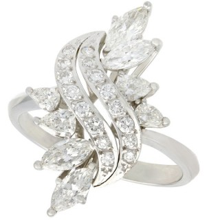 2.19ct Diamond and Platinum Dress Ring - Vintage Circa 1950