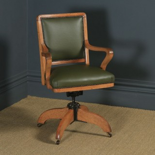 Antique English Edwardian Solid Oak & Sage Green Leather Revolving High Back Office Desk Arm Chair (Circa 1910)