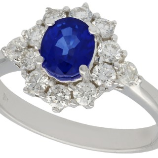 1.21 ct Sapphire and 0.84 ct Diamond, 18 ct White Gold Dress Ring - Vintage Circa 1970