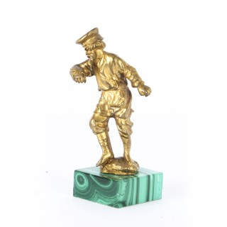 Antique Russian Malachite & Gilt Bronze Miniature Sculpture of a Man 19th C