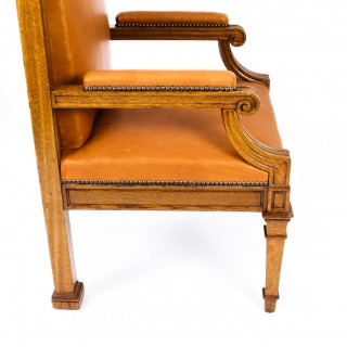 Antique Pair of Victorian Oak & Leather High Back Throne Chairs Ca 1870 19th C