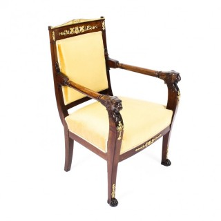Antique French Empire Mahogany & Ormolu Mounted Armchair Early 19th Century