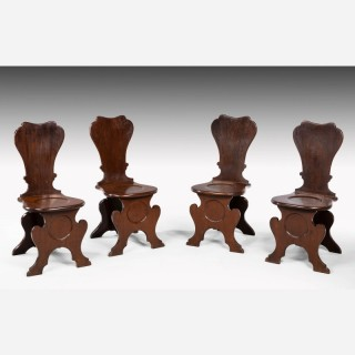 Set of Four George III period Mahogany Hall Chairs