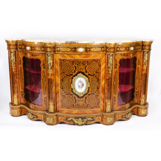 Antique French Kingwood & Marquetry Serpentine Credenza c.1875 19th C