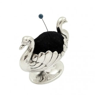 Antique Victorian Sterling Silver Double Swan Pin Cushion 1895