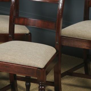Antique English Georgian Regency Set of Six Flame Mahogany Bar Back Dining Chairs (Circa 1830)