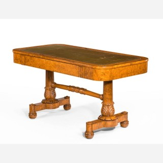 A Regency Period Burr Amboyna Library / Writing Table