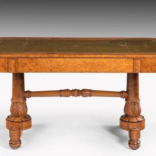 A Regency Period Burr Amboyna Library / Writing Table