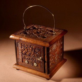 A Dated Dutch Frisian Fine carved Walnut, Fruitwood and Partly Ebonised Foot Stove. Signed and Dated:  M. Maljaars 1884