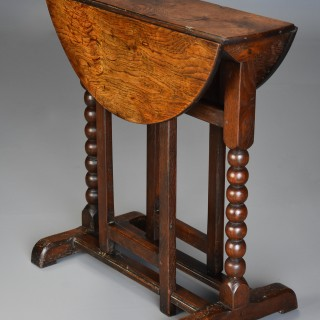 Extremely rare late 17thc oak joined gateleg table of small proportions